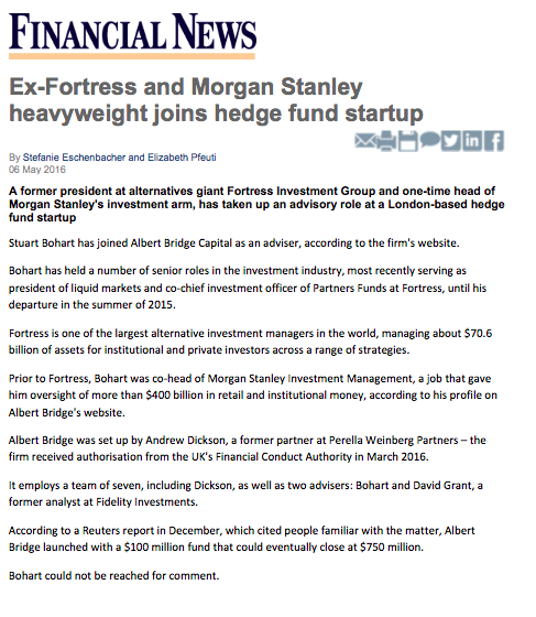 Ex-Fortress and Morgan Stanley heavyweight joins hedge fund
