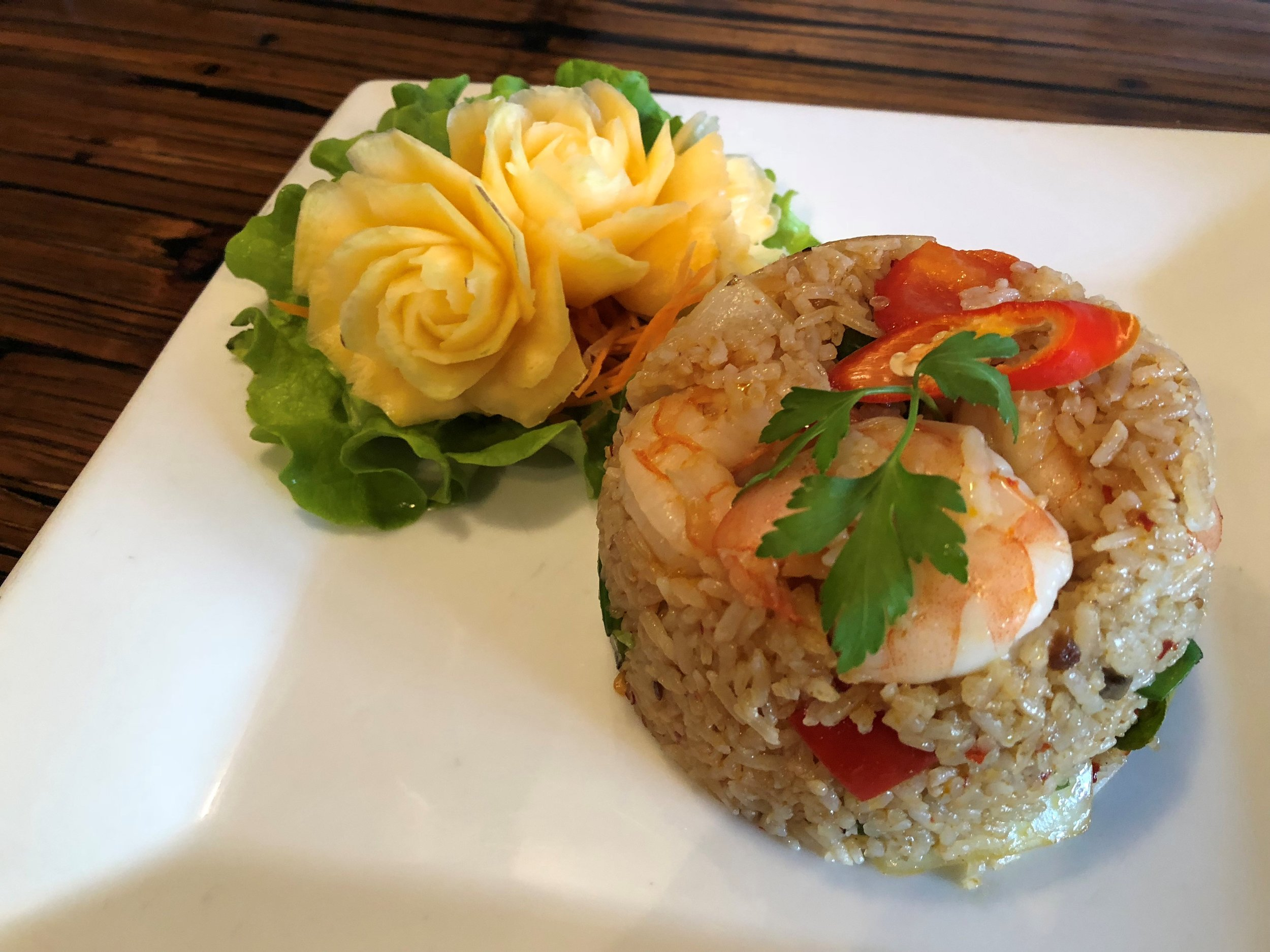 Khao Pad Naam Prik Pao Goong - Fried rice with king prawns and Thai chilli paste