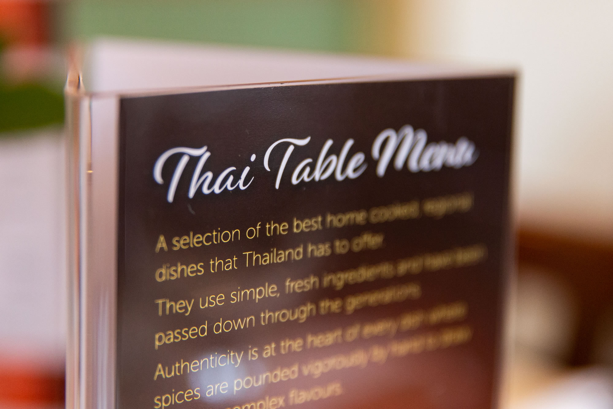 Thai Table Menu