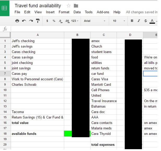 I blacked the amounts for security, but the left column is our current balances and WAS the income. The right column is our regular expenses and was updated with stuff regularly that we knew was coming up, like credit card balances or other bills.