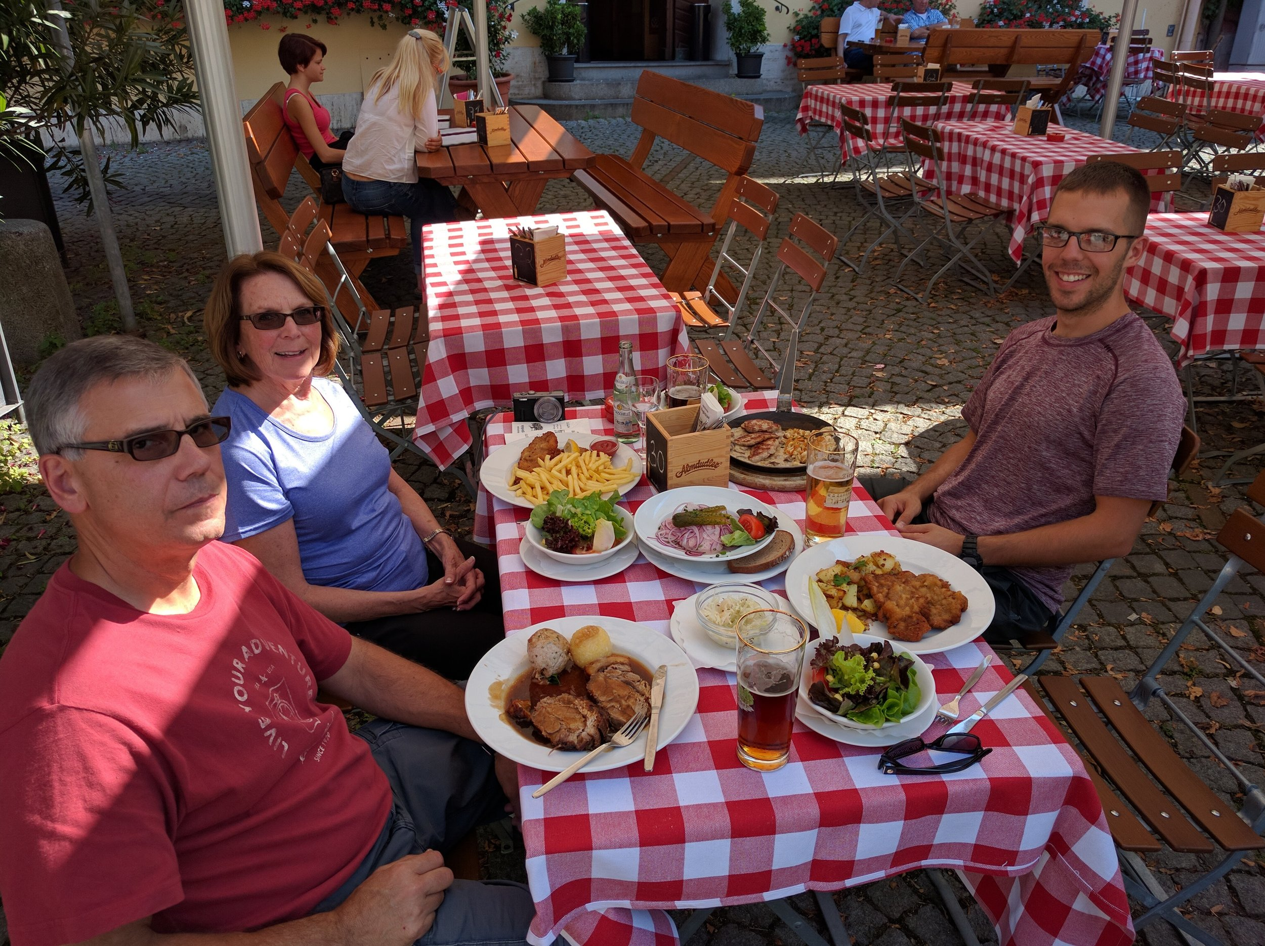 Lunch in the village of Dachau. Schnitzel, pork and other deli-like meat!