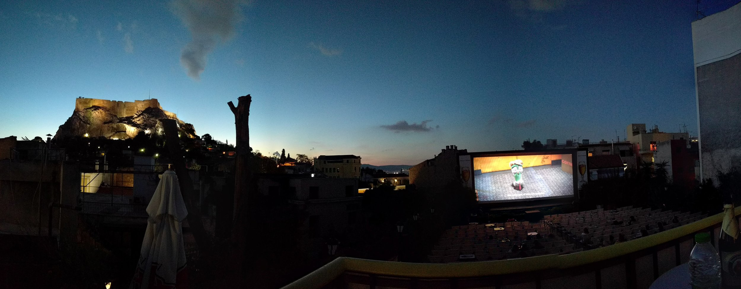 One evening we went to a rooftop movie theater! The view of the Acropolis, or the movie....which was the real show?