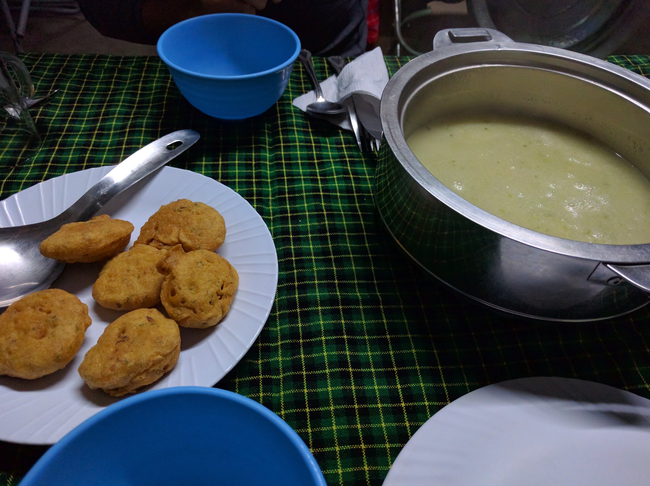 Lentil cakes and soup for the 1st course