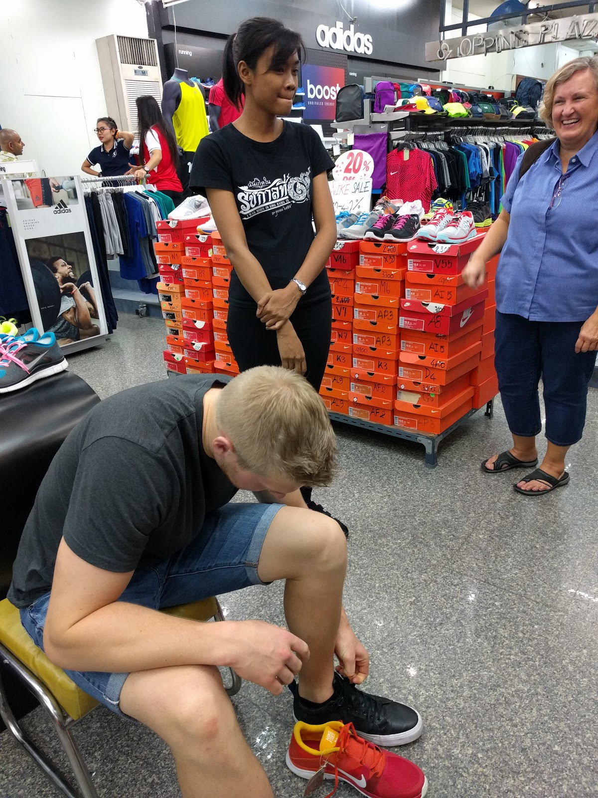 Phil thought he could find cheap Nike's in Asia....but we quickly found out that locals don't wear size 14...