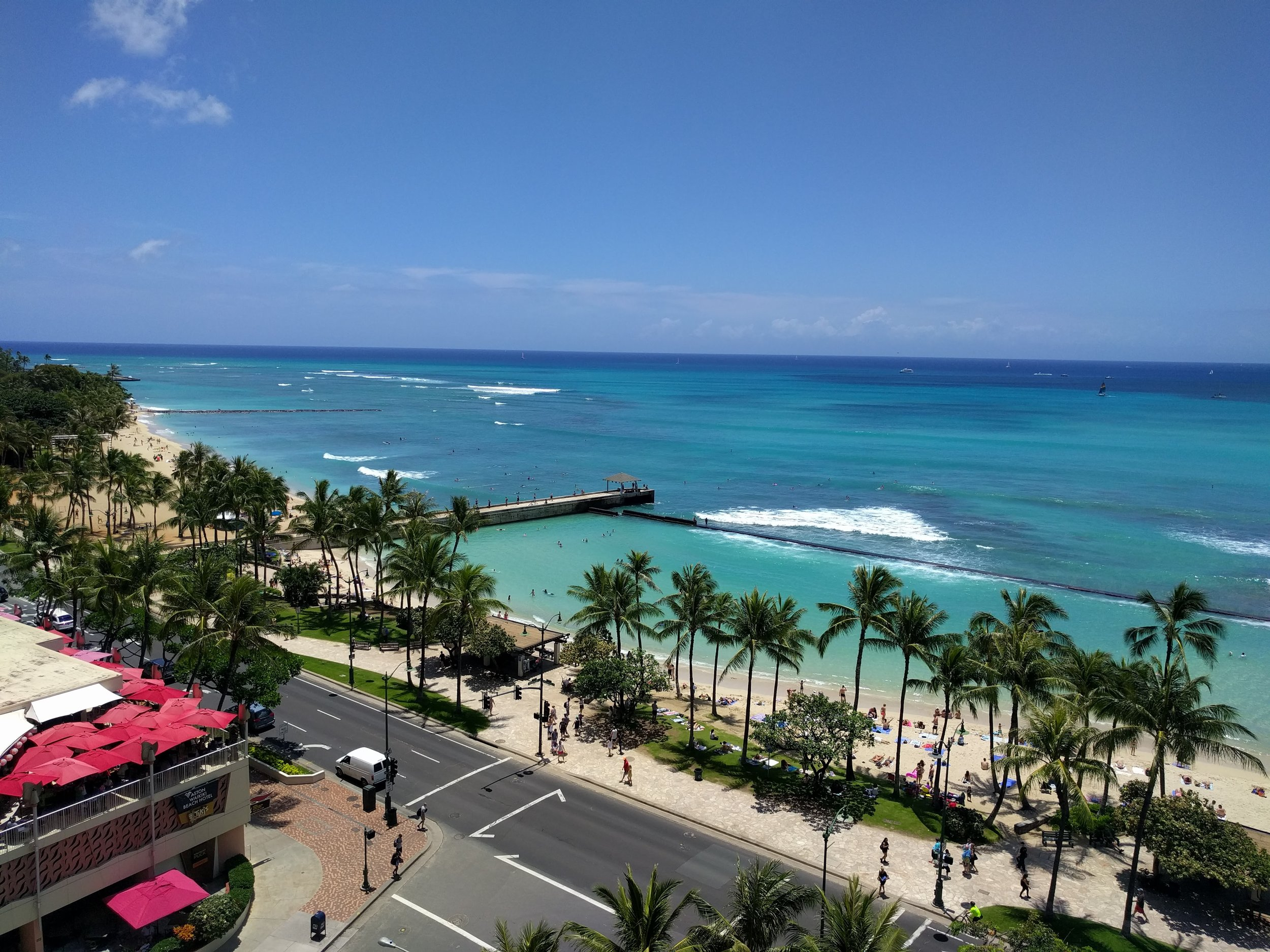 The view from our hotel room of Waikiki Beach. Many thanks to Chip's hotel points!!!!!