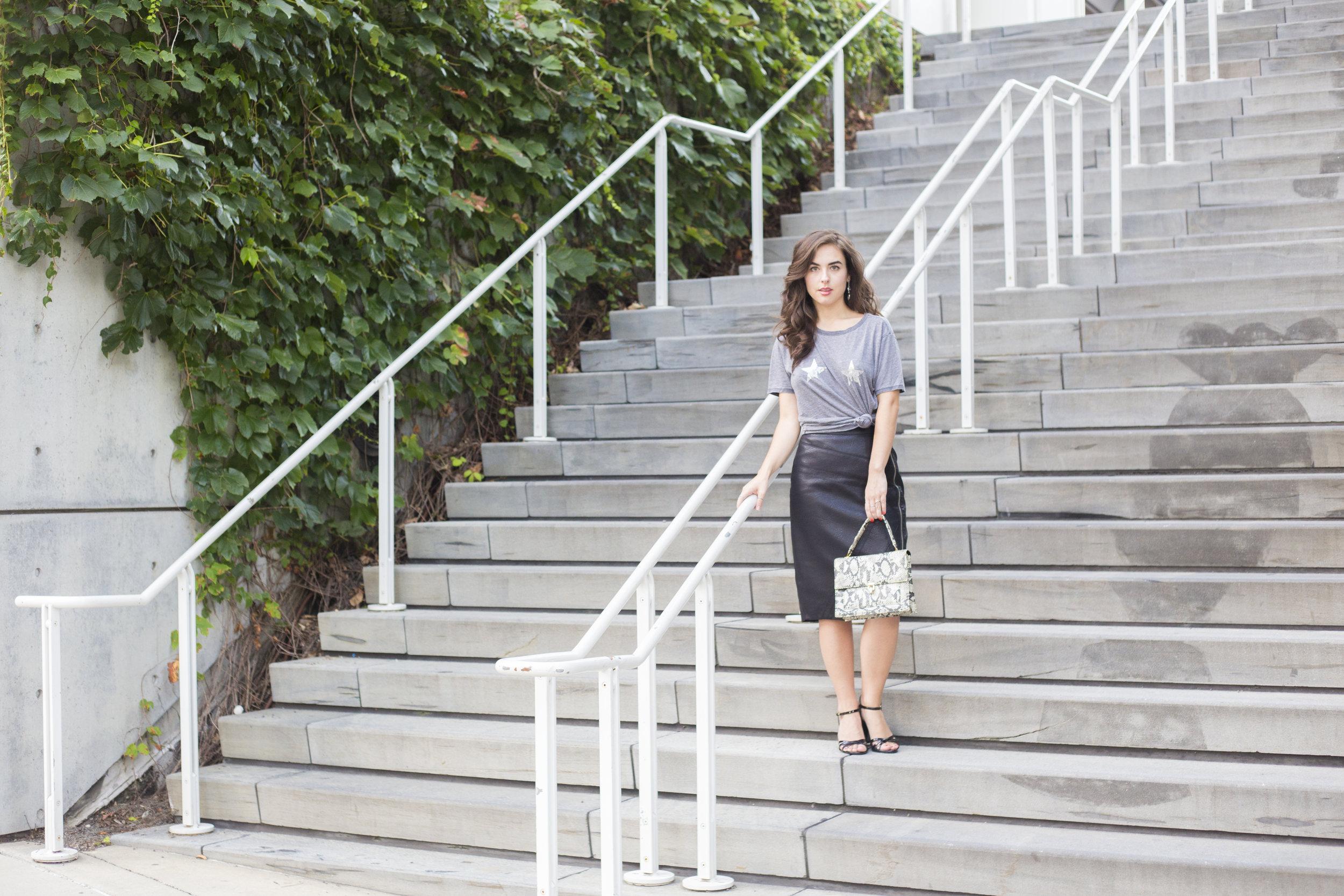 Shirt: Guess; Skirt: Jennifer Lopez Clothing;  Shoes:  H&M (via Goodwill); Purse: Goodwill