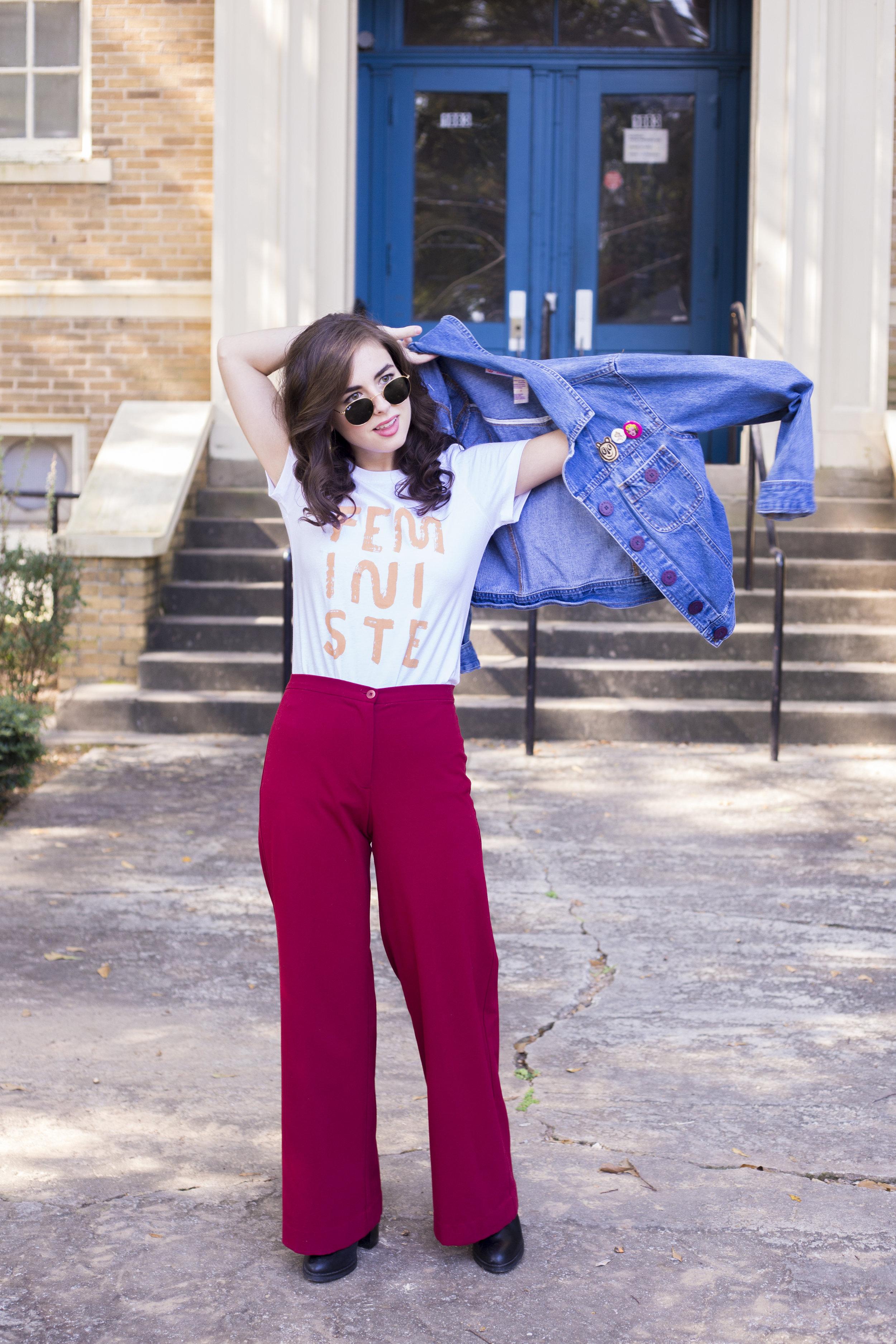 Shirt: People I've Loved; Pants: Banana Republic (via Goodwill); Jacket: Bill Blass (via Goodwill);  Sunglasses: Ray-Ban