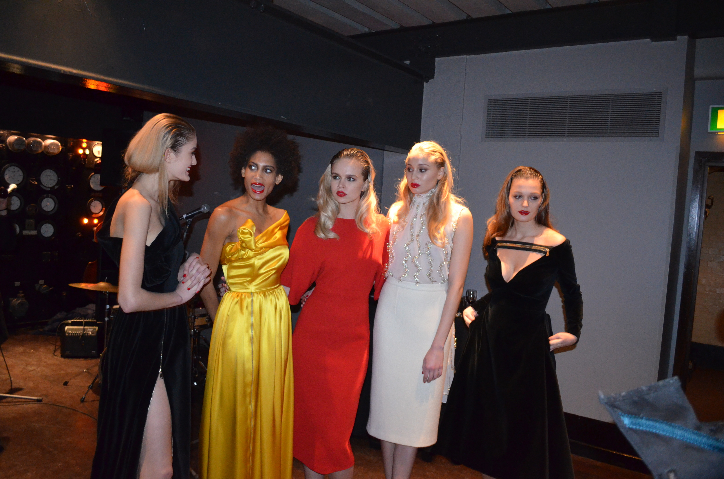 The models showcased the luxe silk and cotton-blended pieces at the party after the presentation.