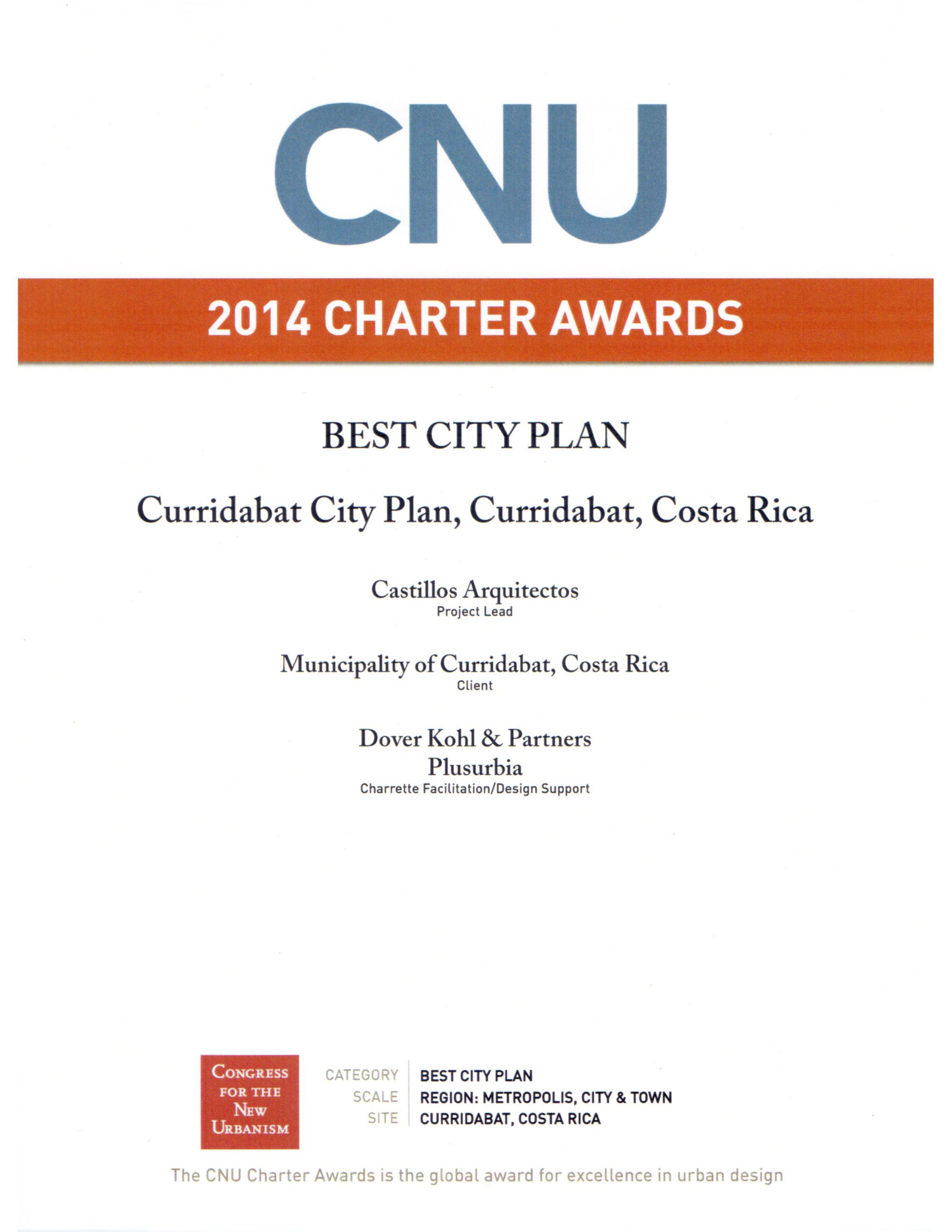 CNU -CHARTER AWARDS - Diploma recibido departe del CNU durante la ceremonia llevada a cabo en Buffalo, NY, durante el Congreso para el Nuevo Urbanismo, 2014.