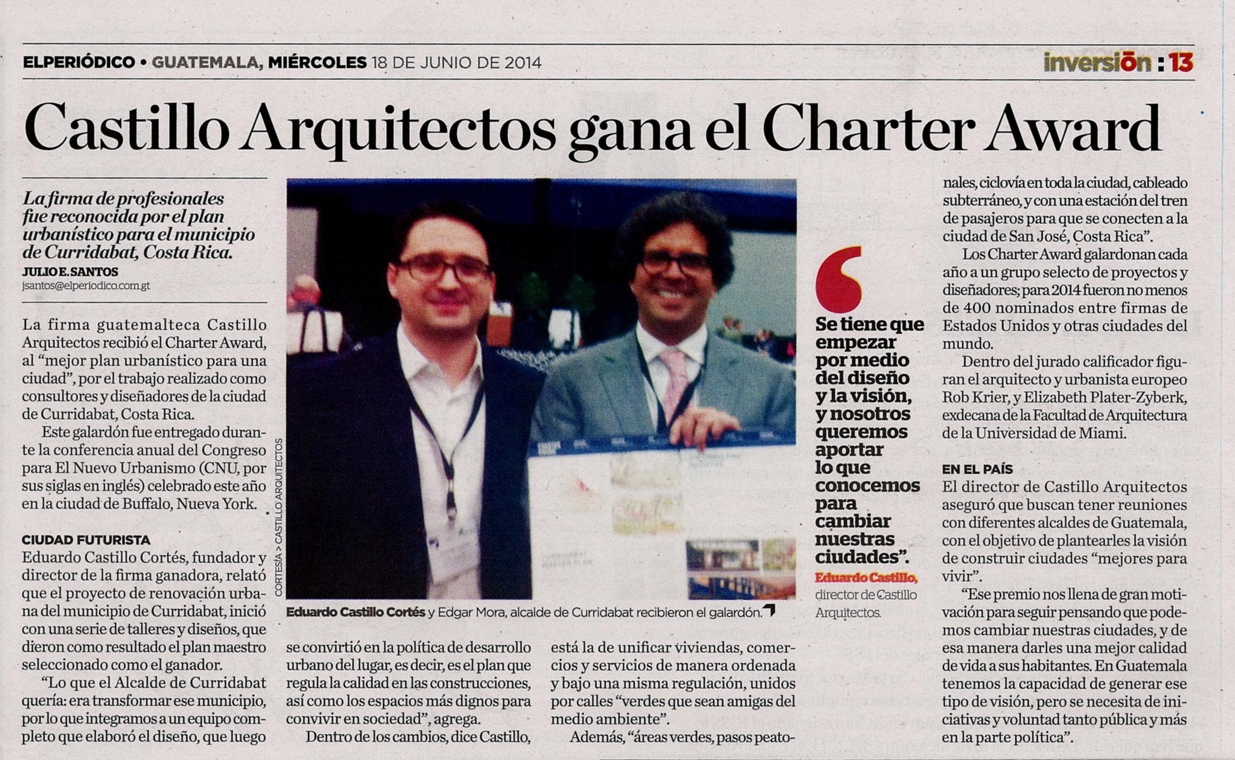 PRENSA - Reseña publicada en El Períodico de Guatemala. En la foto: Eduardo Castillo, director de CA y Edgar Mora, alcalde de Curridabat.