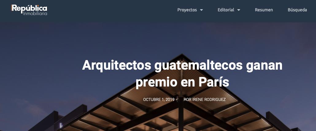 Nota acerca del Prix Versailles para Ciudad del Este y entrevista a Eduardo Castillo Cortés en   República Inmobiliaria.