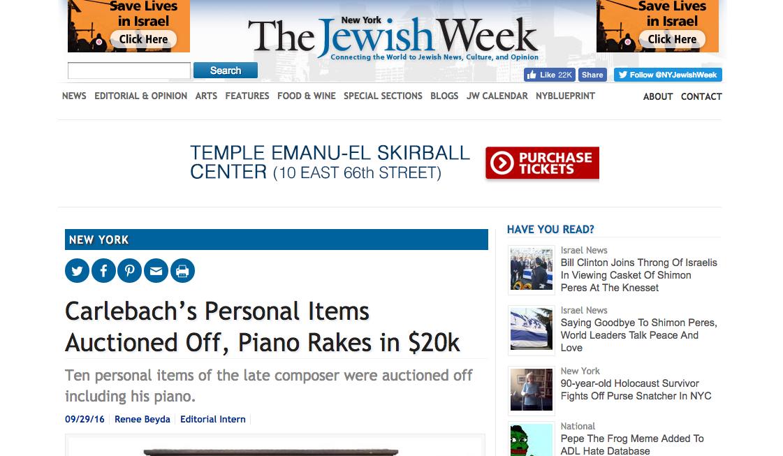J. Greenstein & Co. feature in The Jewish Week