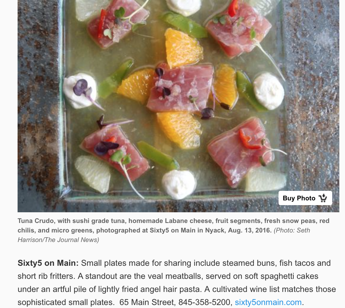Sixty5 on Main Featured in LOHUD for FALL 2016