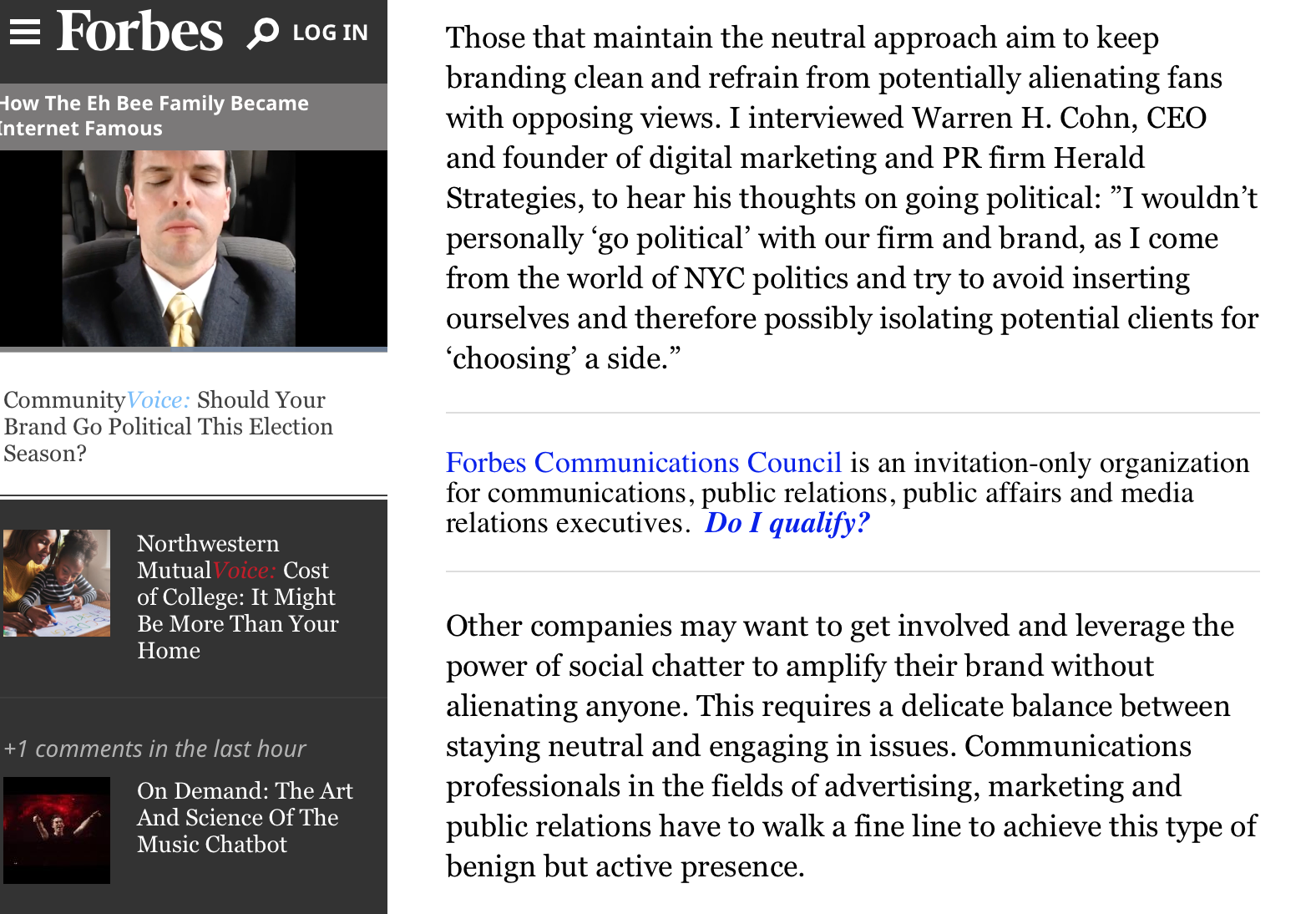 Our CEO Warren H. Cohn in Forbes