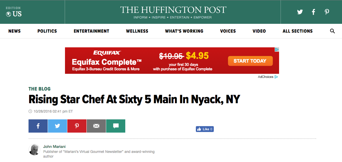 Sixty5 on Main feature in Huffington Post