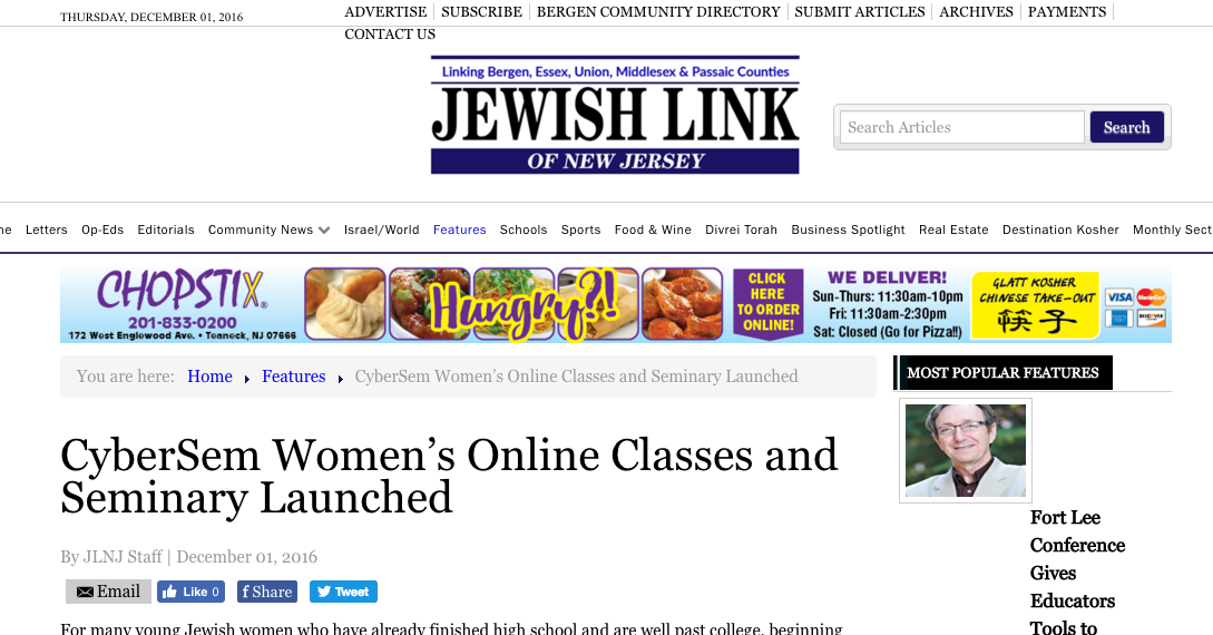 CyberSem's feature in The Jewish Link NJ