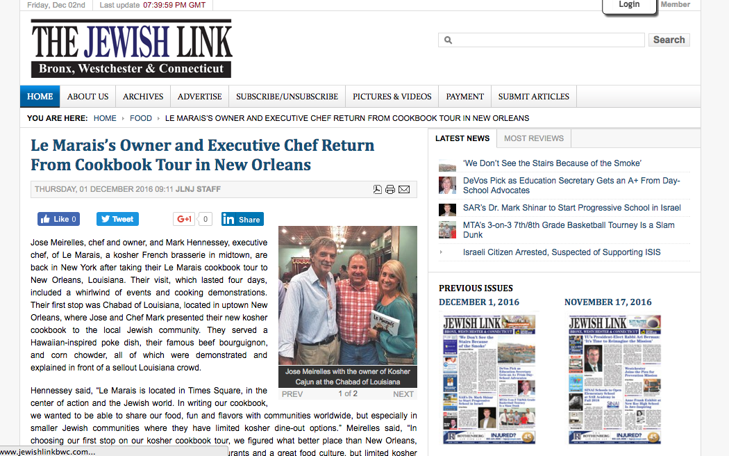 Le Marais feature in The Jewish Link BWC