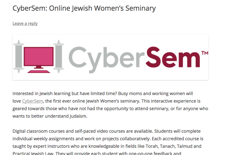 CyberSem feature in The Jewish Lady