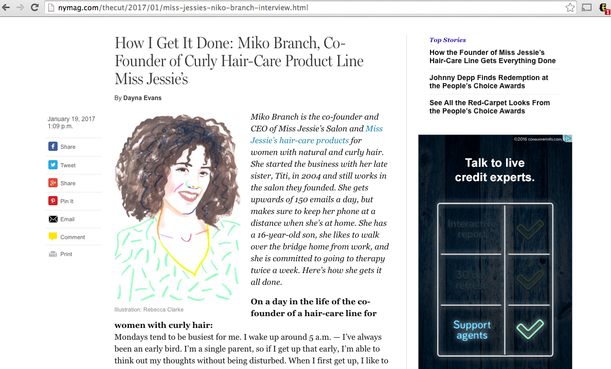 Miko Branch feature in NY MAG