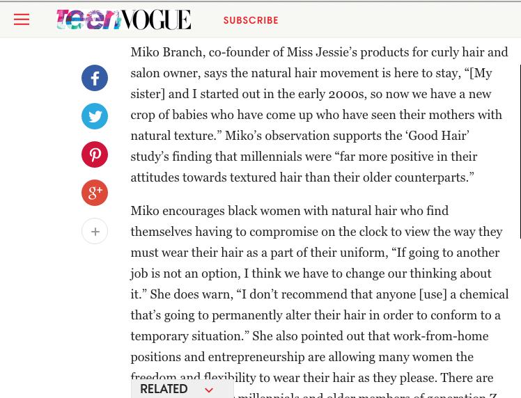 Miko Branch feature in Teen Vogue