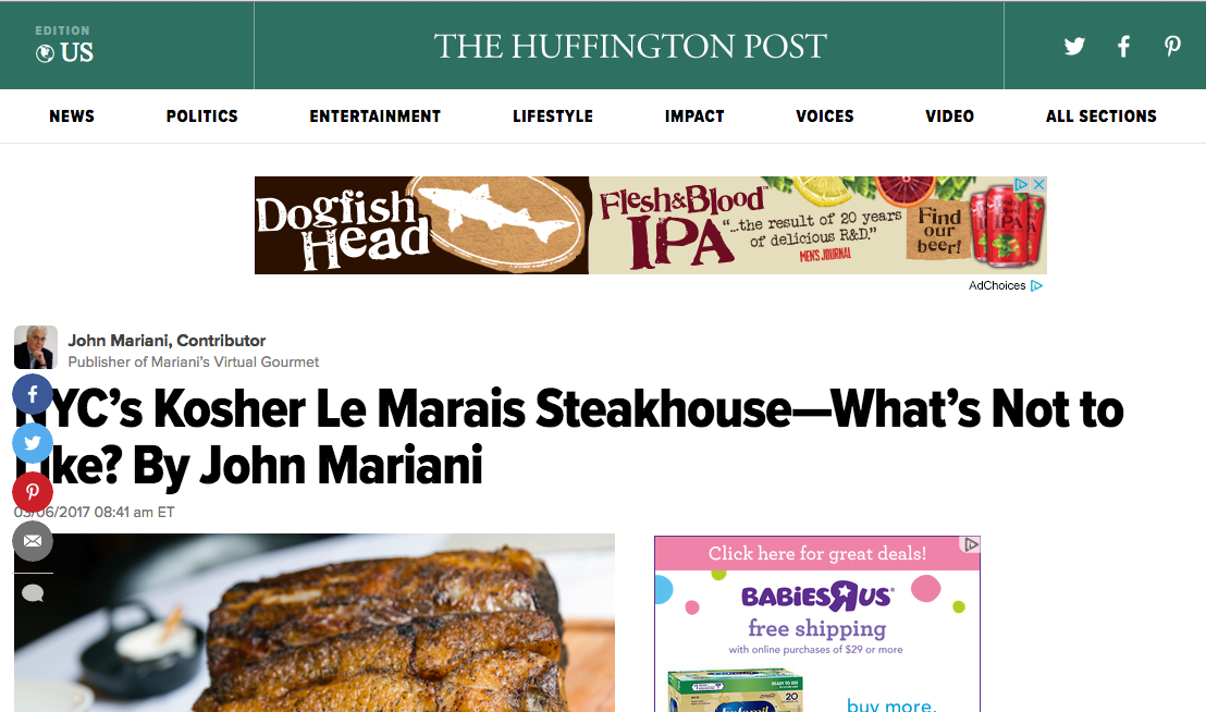 Le Marais feature in Huffington Post