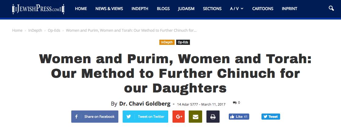 Chavi Goldberg feature in The Jewish Press