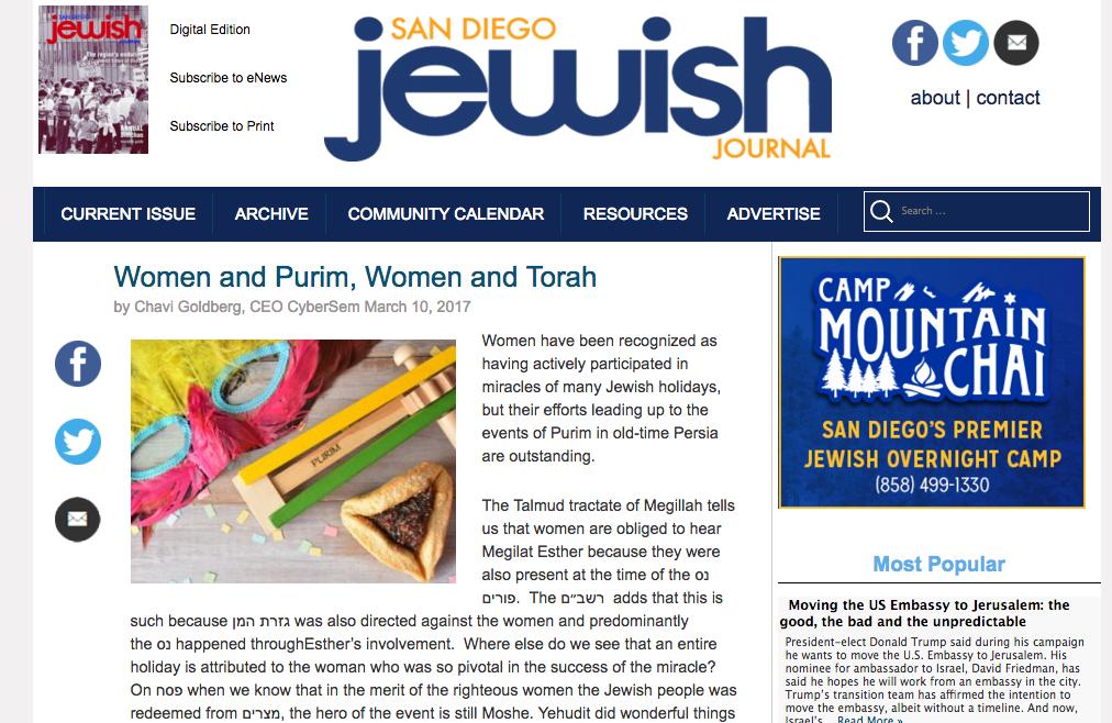 Chavi Goldberg feature in the San Diego Jewish Journal