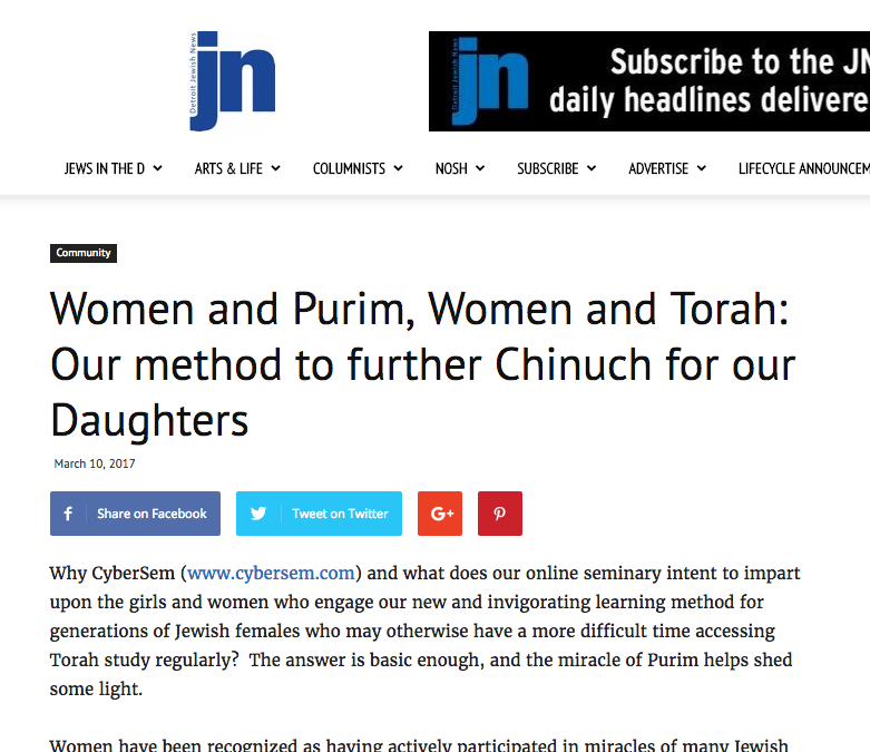 Chavi Goldberg feature in The Jewish Journal