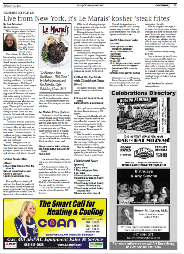 Le Marais' Feature in the Boston Jewish Advocate!