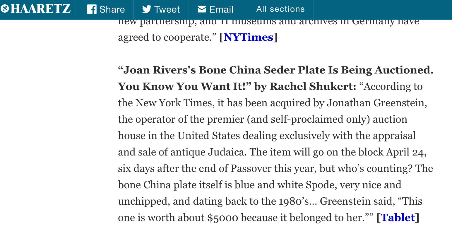 Jonathan Greenstein in Haaretz!