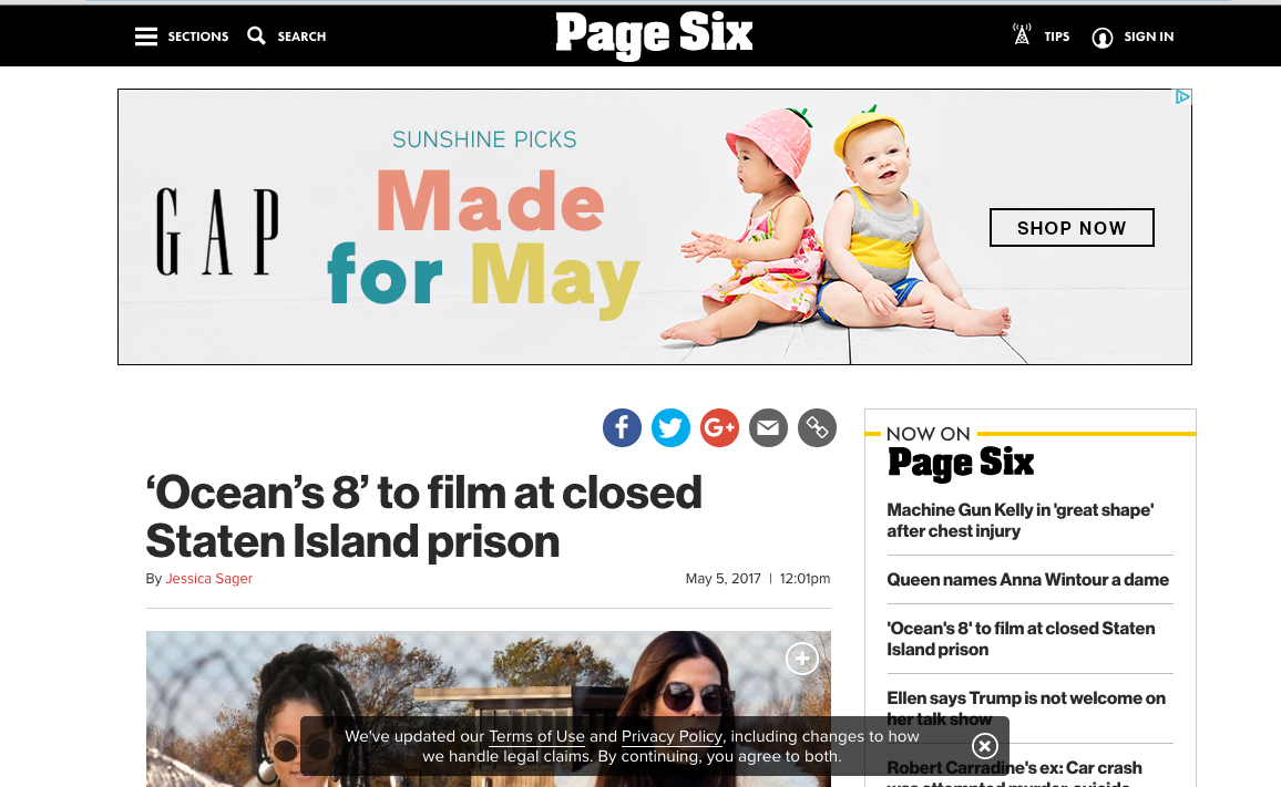 Broadway Stages feature in Page Six
