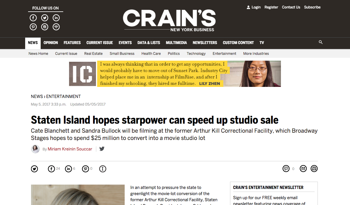 Broadway Stages feature in CRAIN'S