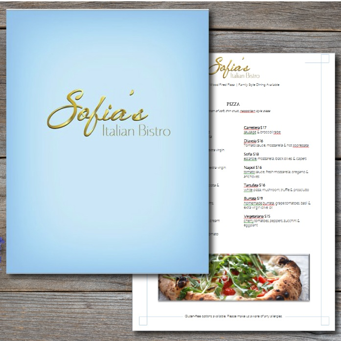 SOFIA'S ITALIAN BISTRO PRINT DESIGN   WEB DESIGN