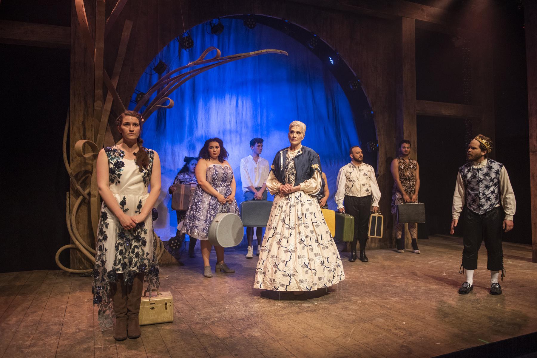 Philoclea (Caitlyn Cerza), Pamela (Bridget Adams-King), Queen Gynecia (Liz Norton), and King Basilius (Frankie Leo Bennett) with Ensemble