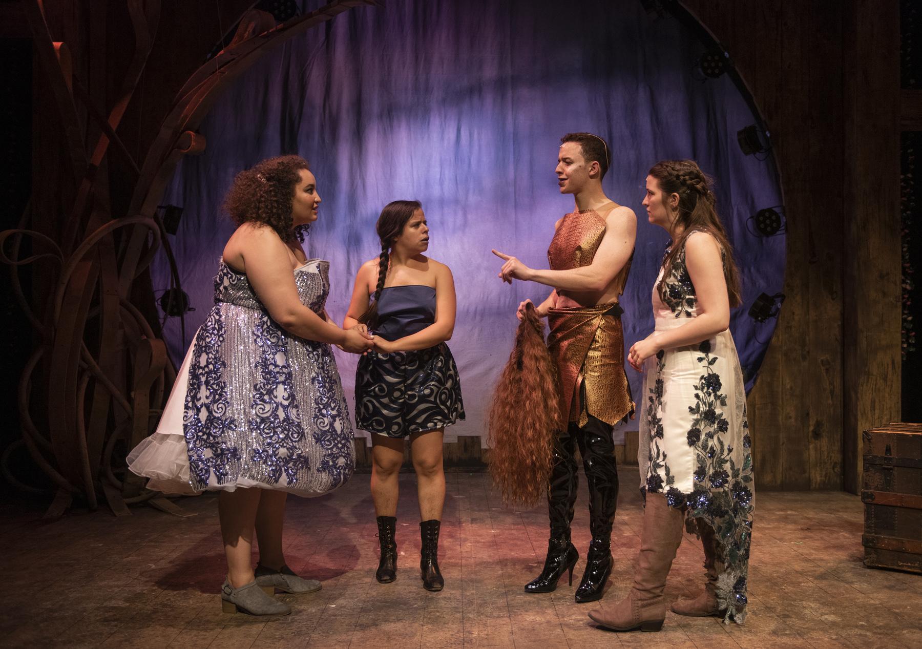 Pamela (bridget Adams-King), Mopsa (Deanalís Resto), Musidorus (Jeremiah Alsop), and Philoclea (Caitlyn Cerza)
