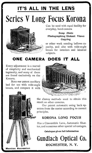 Here's an original 1901 advertisement from the Gundlach Optical CO. We have one of the   Korona view model's in our lineup of booths for rent     ©Gundlach-Manhattan Optical Co.