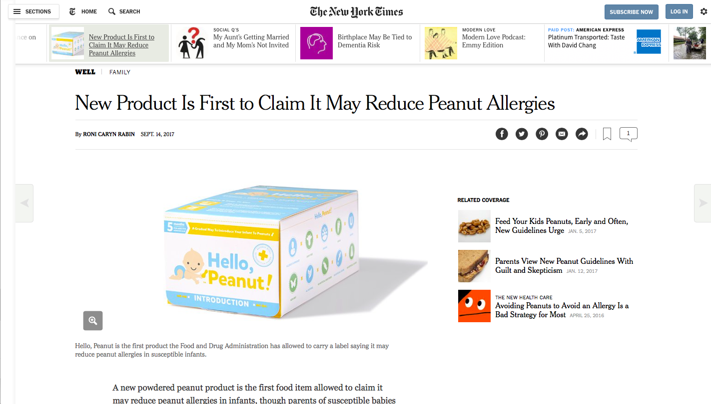 Hello, Peanut! The solution for early peanut introduction - The New York Times