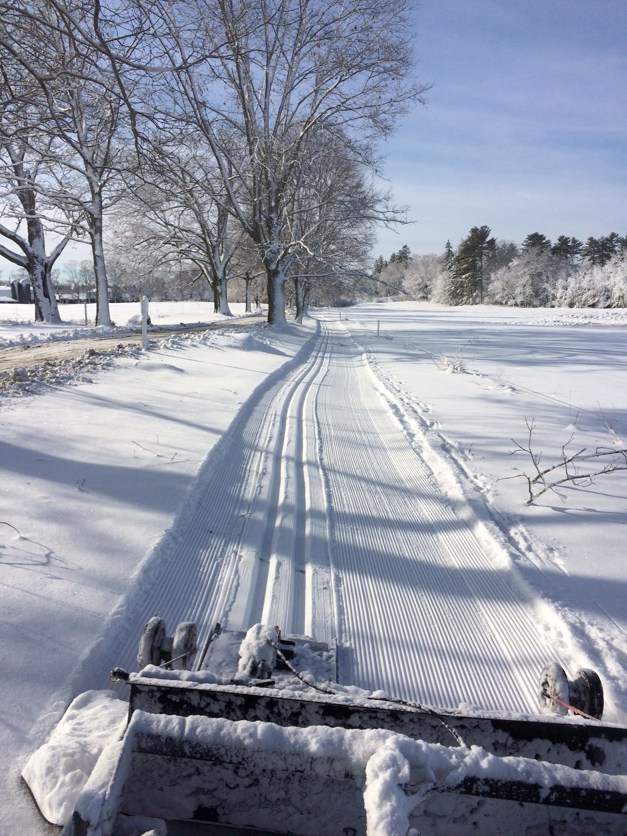 Appleton Farms- a view looking back at the YTS Ginzu groomer and the freshly groomed trail.