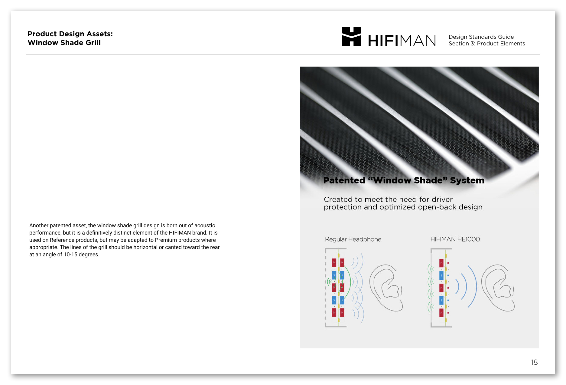 A sample page from the HIFIMAN Design Guide on the Window Shade grill asset.