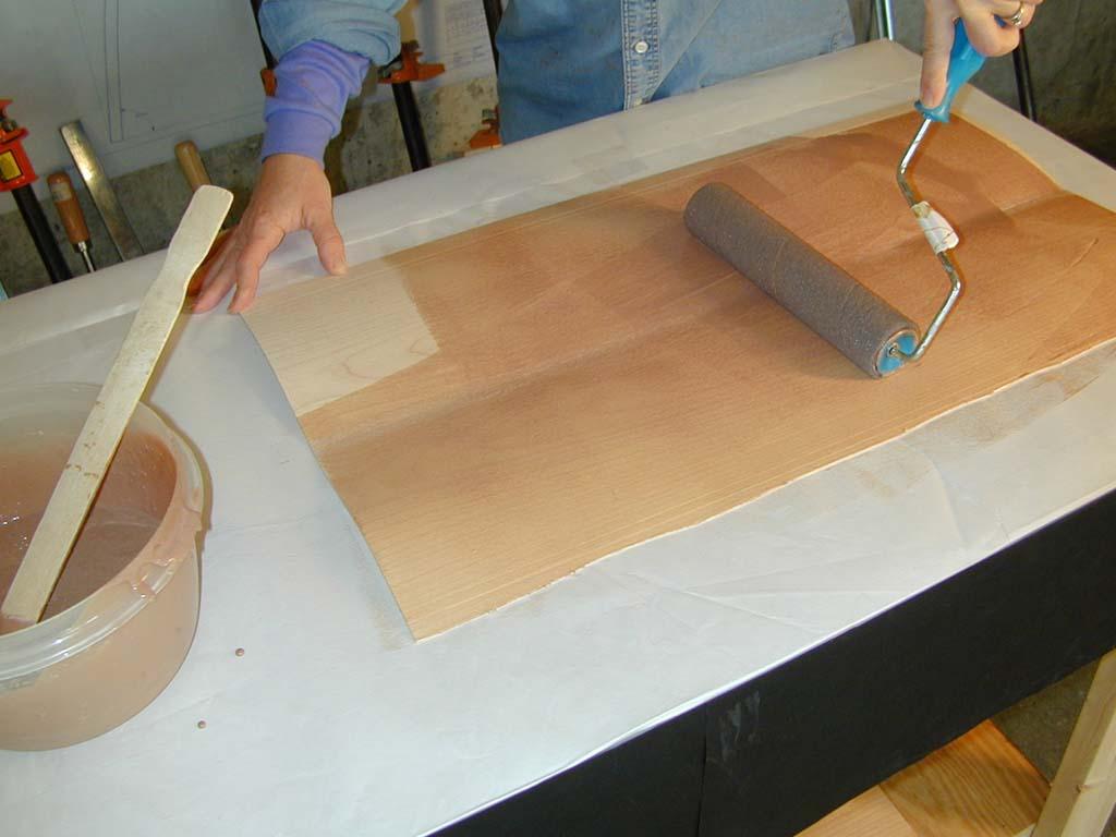 1. Applying glue to wood ply