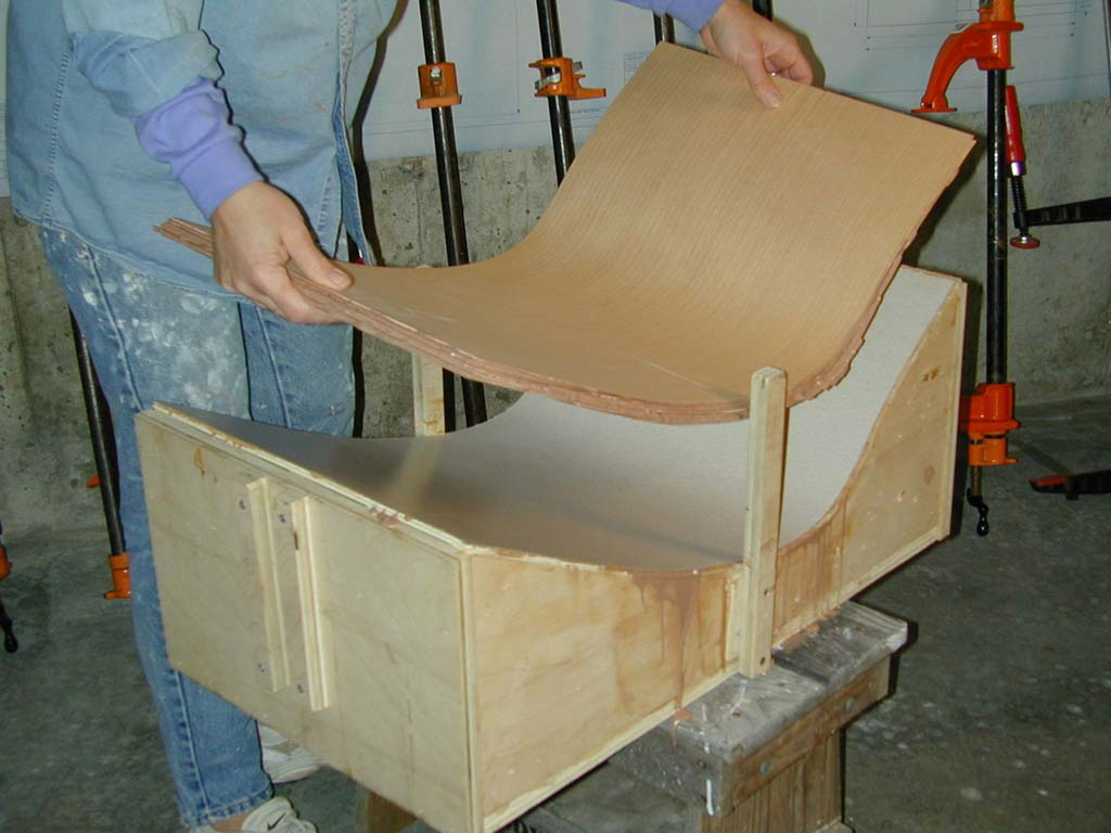 6. After the glue sets, removing the stool half blank