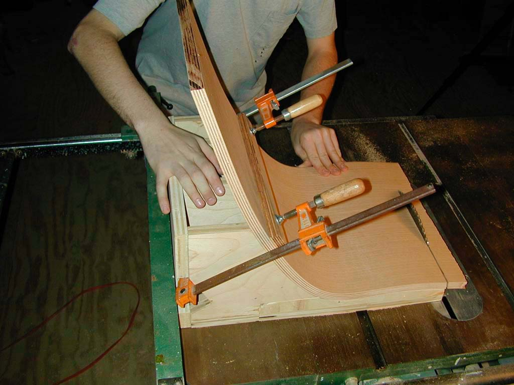 10. Trimming the short edges on the table saw
