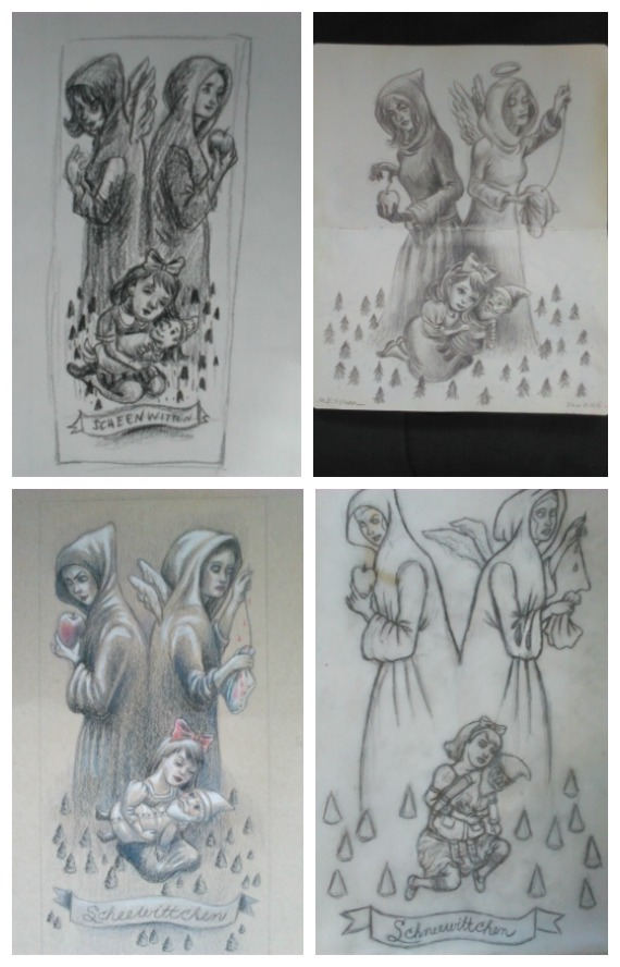 Many, many sketches and drawings went into making this Snow White painting.
