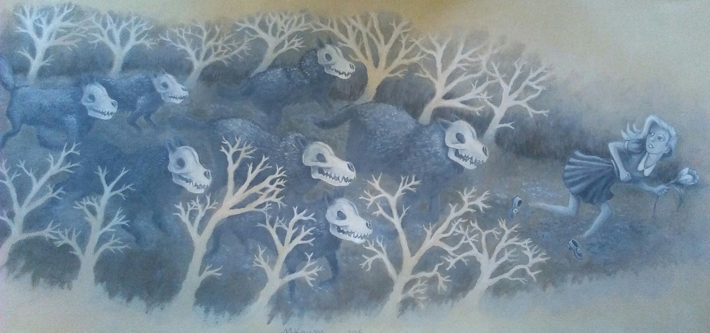 """Out-Running the Hounds of Hell"" 30""x14"" acrylic paint on BFK Rives paper."