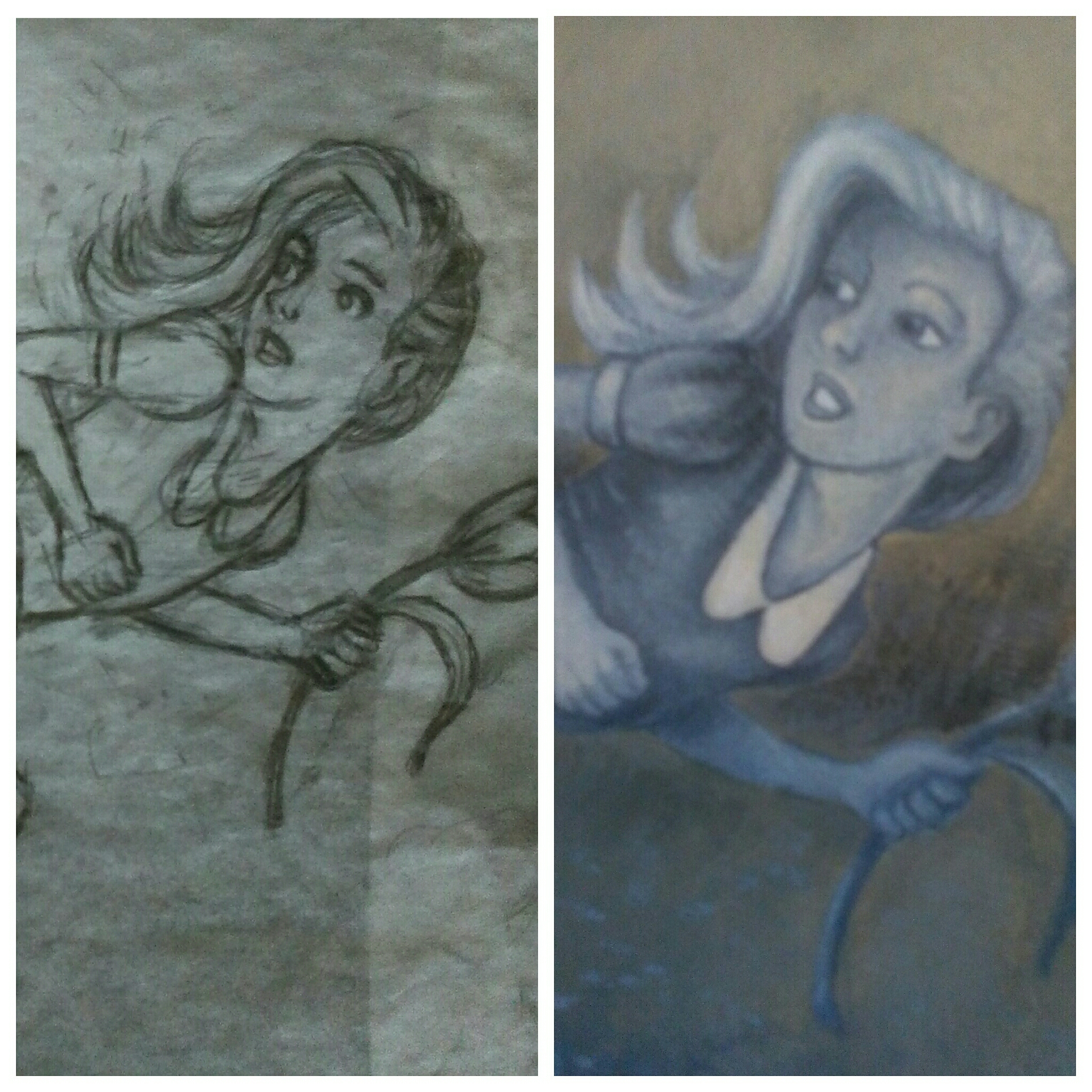 The sketch and the painting of the little girl.