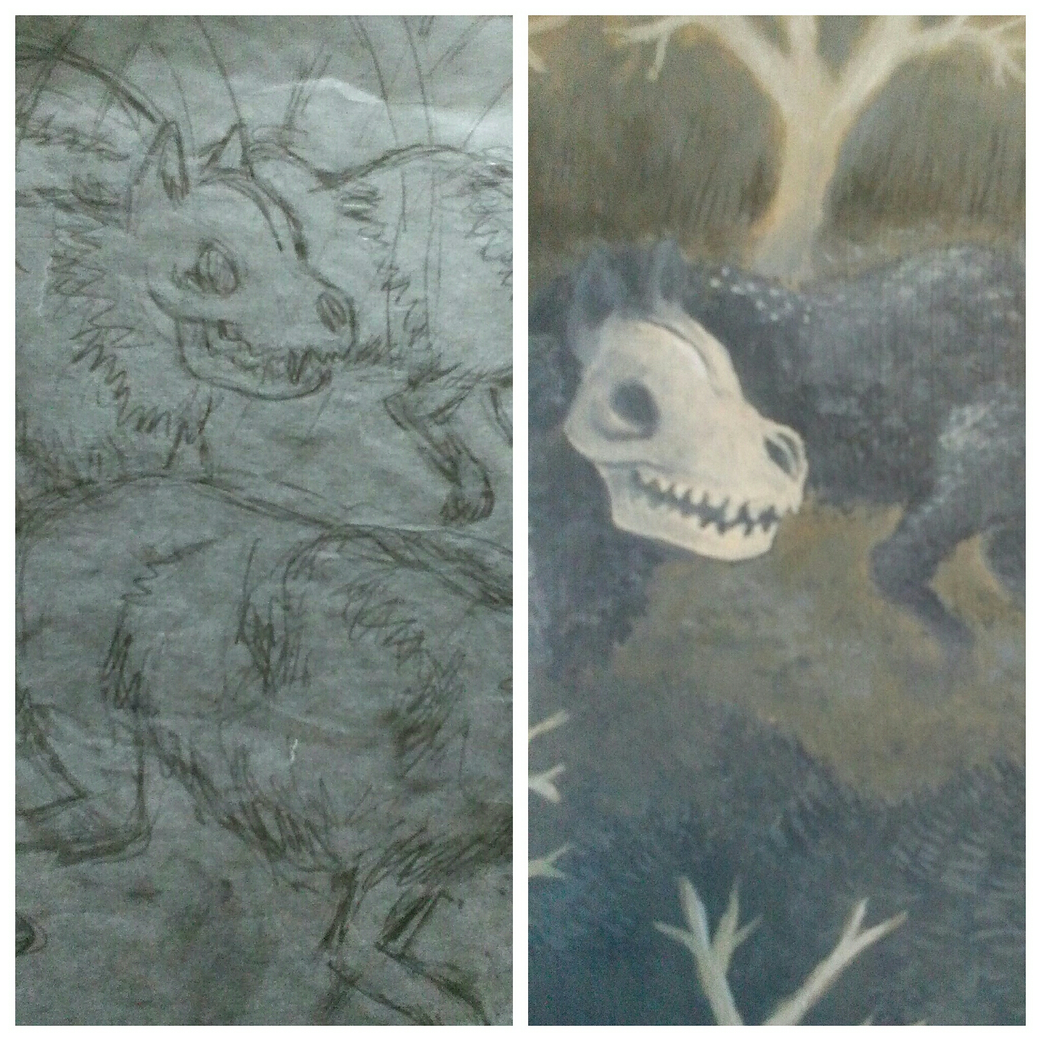The sketch and the painting of one of the scary dogs a.k.a. hounds of hell.