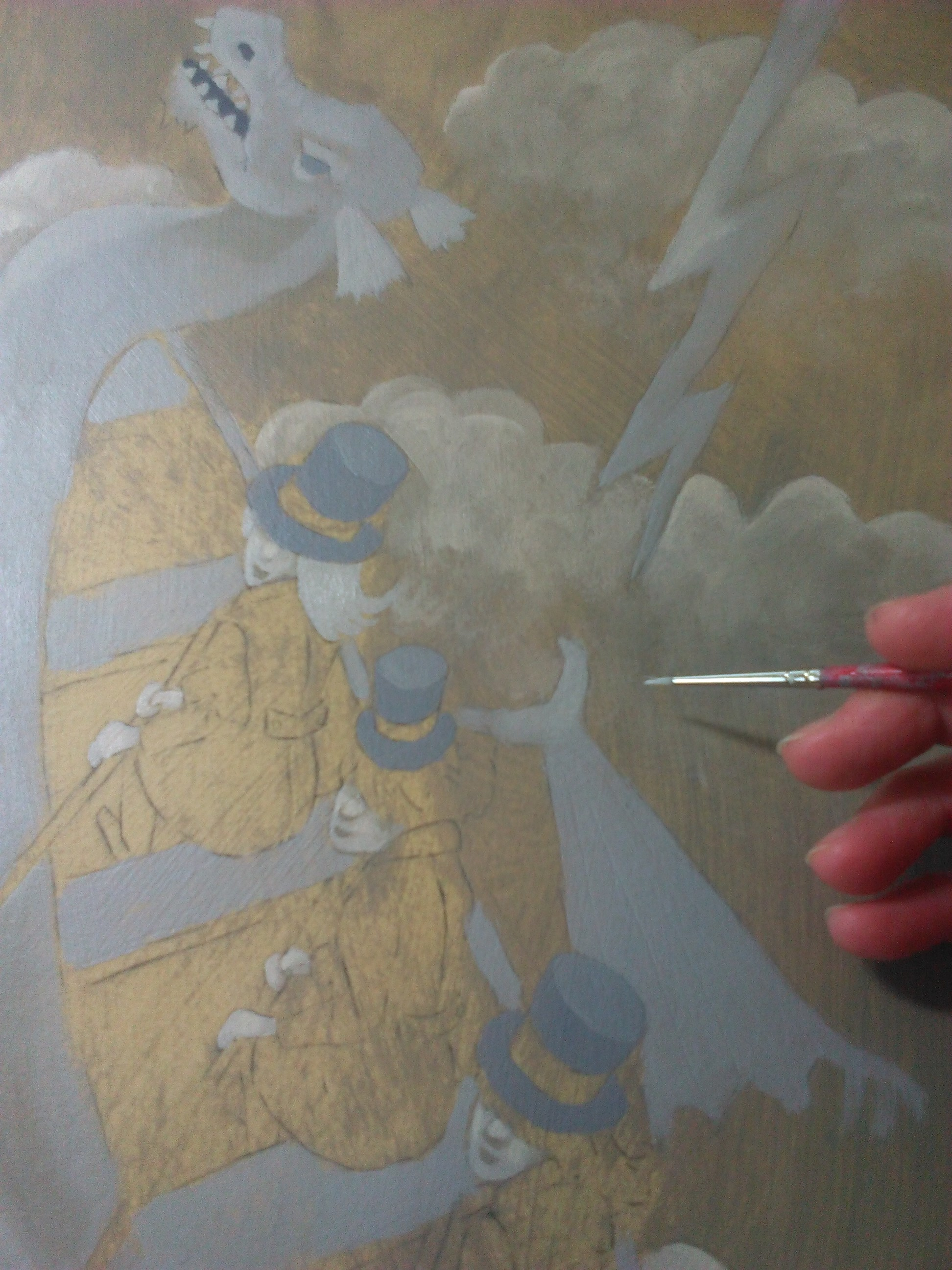 Starting the dragon painting.