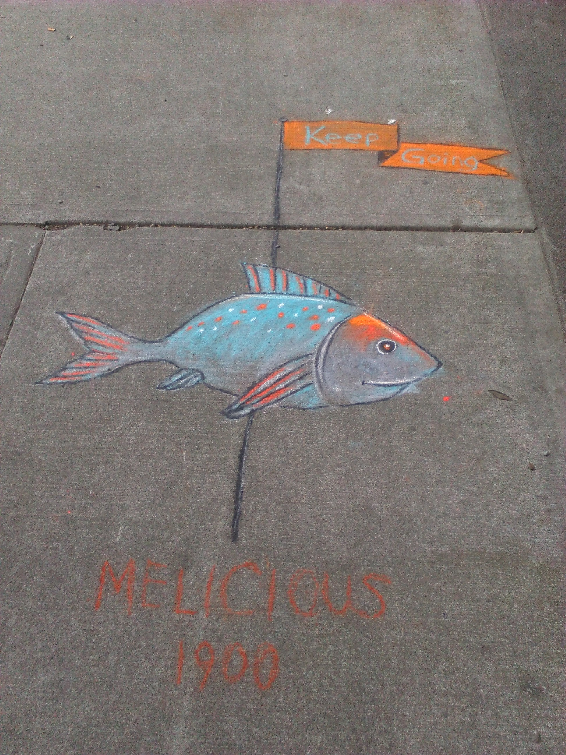 The 2nd fish drawing to encourage you to keep going! Near the South Side of Burnside and 5th.