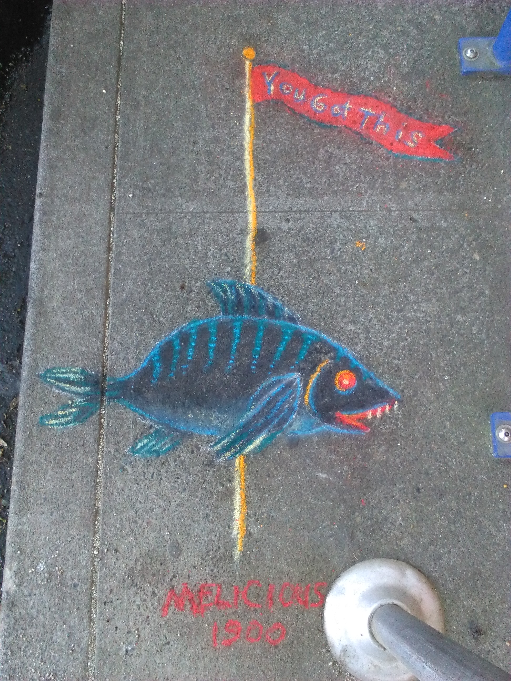 The 3rd fish drawing to let you know you're doing well...in fact...you got this! Near SW 2nd & Ash.