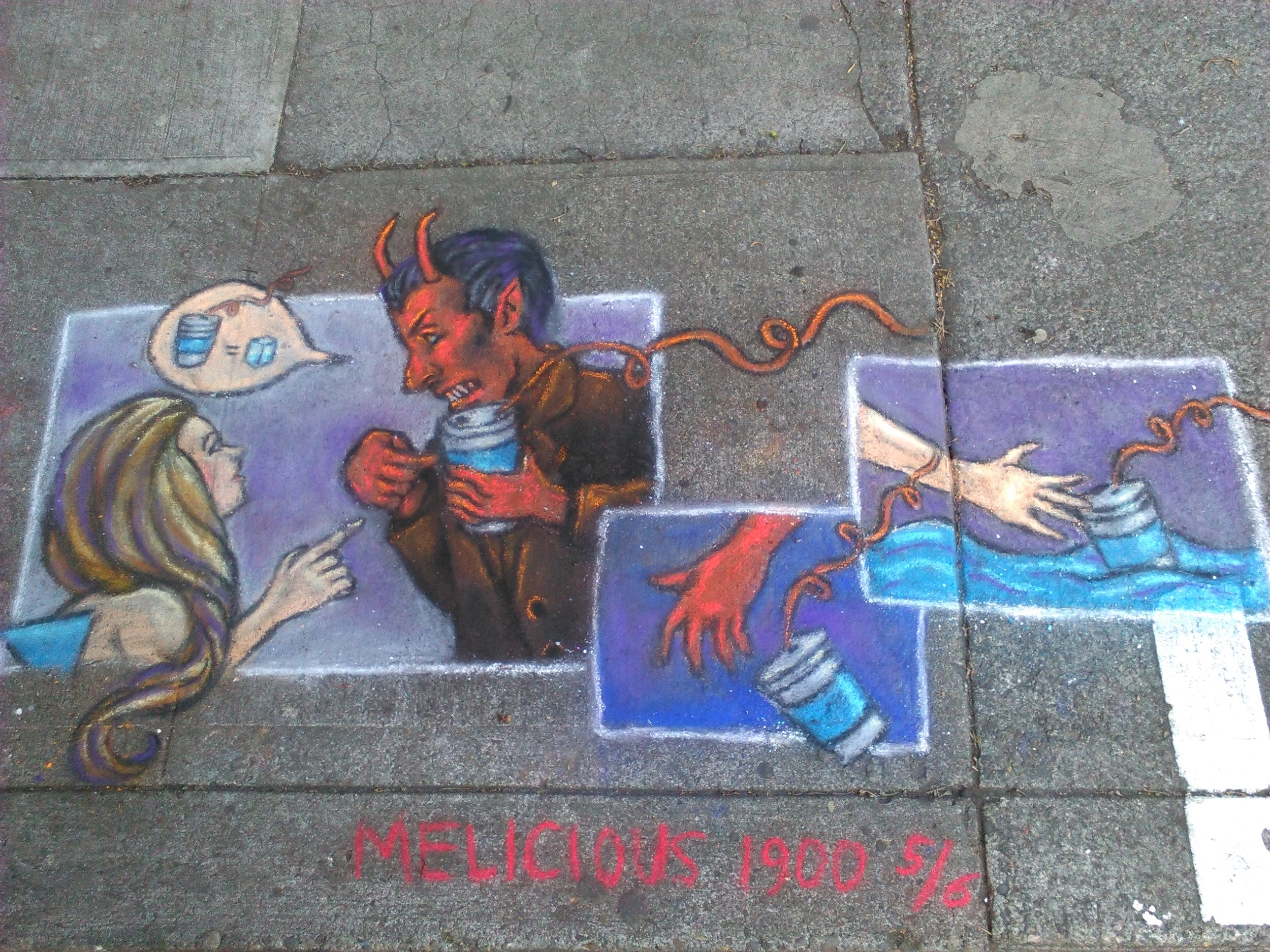 The 5th drawing where the mermaid asks what the devil he is drinking. Near NW 2nd & Couch.
